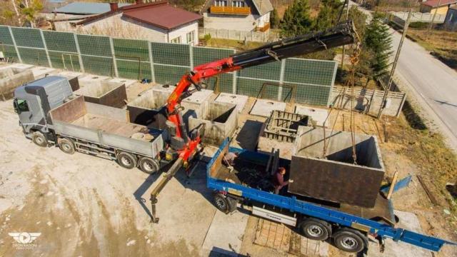 Betonové nádrže na dešťovou nebo odpadní vodu - nakládka na dopravu