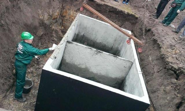 Dvoukomorový betonový septik - montáž